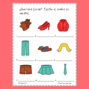 Spanish Clothing La ropa Interactive Notebook Activities