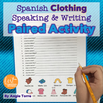 Spanish Clothing La ropa Paired Speaking Activity