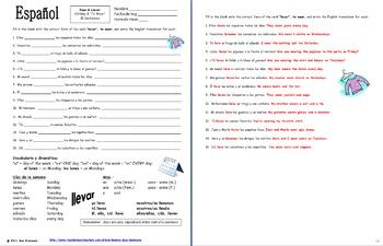 Spanish Clothing, Llevar, and Days of the Week Sentences Worksheet