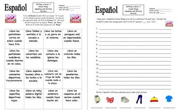 Spanish Clothing Llevo... Human Bingo Game Speaking Activity and Follow-Up