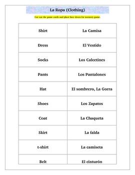 Spanish Clothing La Ropa