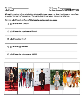 Spanish Clothing Partner Activity w/ Celebrities