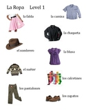 Spanish Clothing Picture Word Bank Level 1