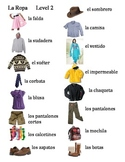 Spanish Clothing Picture Word Bank Level 2