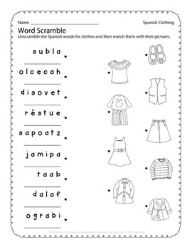 Spanish Clothing Puzzles and Activities