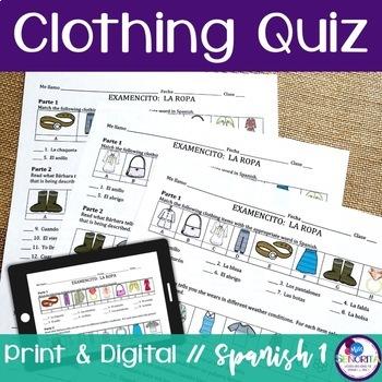 Spanish Clothing Quiz