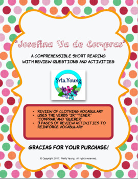 Spanish Clothing Reading Comprehension and Activity Pack