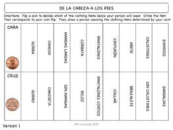 Spanish Clothing (Ropa) Task Cards & Drawing Activities