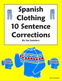 Spanish Clothing Sentence Correction and Image IDs Worksheet - La Ropa