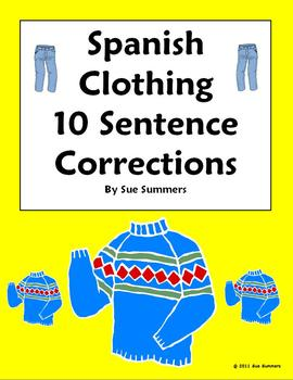 Spanish Clothing Sentence Correction and Image IDs Worksheet - La Ropa