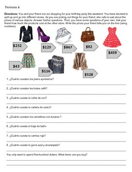 Spanish Clothing/Shopping Speaking Activity