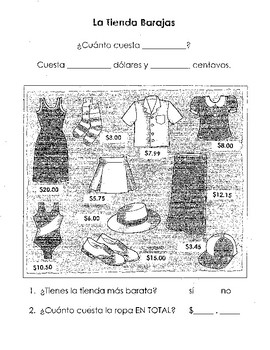 Spanish Clothing Store Price Comparison Activity