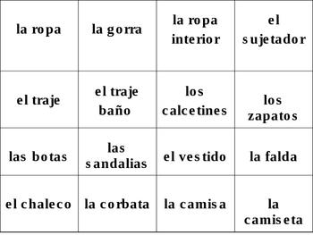 Spanish Clothing Student Flashcards / Ropa Flashcards