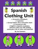 Spanish Clothing Bundle - Vocabulary, Skits, Worksheets - 42 Pages