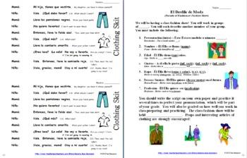 Spanish Clothing Bundle - Vocabulary, Skits, Worksheets - 42 Pages