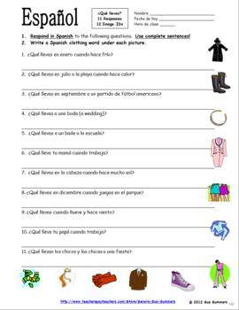 spanish clothing bundle vocabulary skits worksheets la ropa. Black Bedroom Furniture Sets. Home Design Ideas