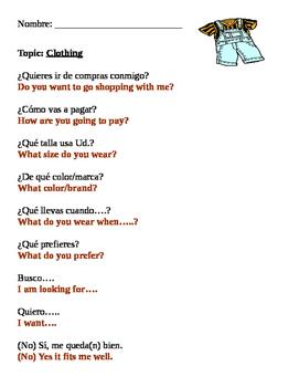 Spanish Clothing Vocabulary
