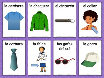 Spanish Clothing Vocabulary Cards