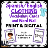 Spanish Clothing Vocabulary Cards and Word Wall
