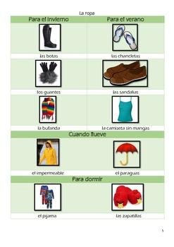 Spanish Clothing Vocabulary La Ropa