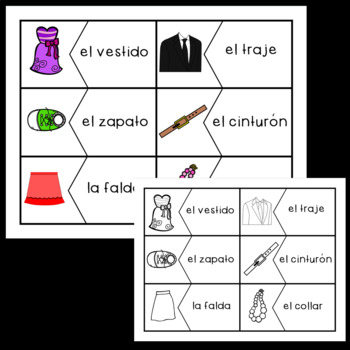 Spanish Clothing Vocabulary Puzzles!
