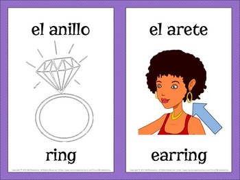 Spanish Clothing Vocabulary Word Wall