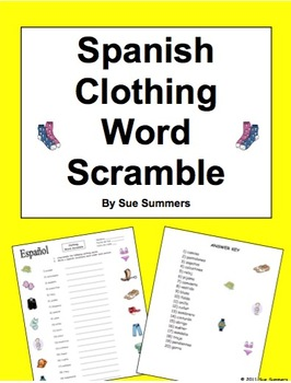 Spanish Clothing Word Scramble and Picture IDs - La Ropa
