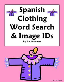 Spanish Clothing Word Search Puzzle and Picture IDs - Substitute Lesson