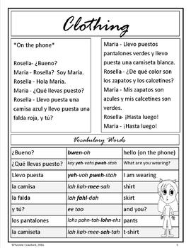 Spanish Clothing Words Clothes -  La Ropa en Español