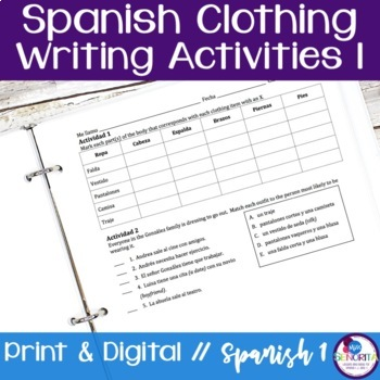 Spanish Clothing Writing Activities 1