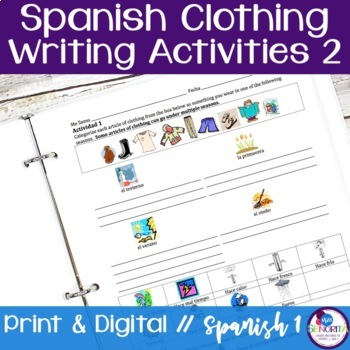 Spanish Clothing Writing Activities 2