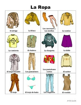 Spanish Clothing And Accessories Picture Notes Set By Spanish Resource Shop