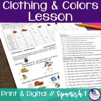 Spanish Clothing and Colors Lesson
