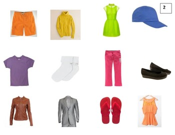 Clothing and Colors Pictures for Speaking Practice or games