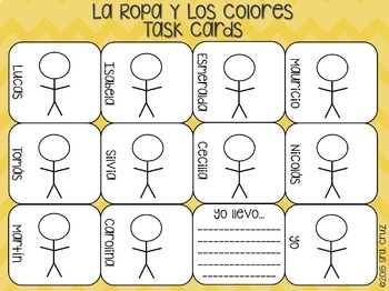 Spanish Clothing and Colors Task Cards