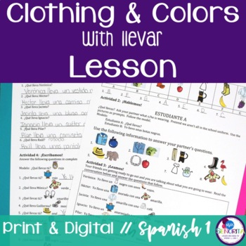 Spanish Clothing and Colors with Llevar Lesson
