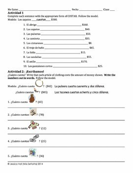 Spanish Clothing and Cuesta with Numbers 1-100 Writing Activities