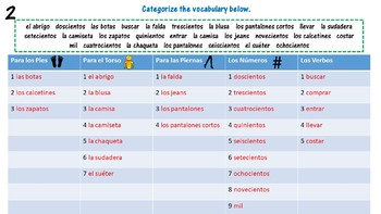 Spanish Clothing and Shopping Vocabulary- Realidades 1- 7A Set of 4 Bell Ringers