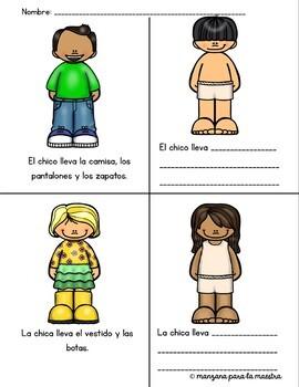 Spanish Clothing interactive activity no prep lesson la ropa elementary