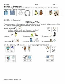 Spanish Clothing with Comparisons Lesson