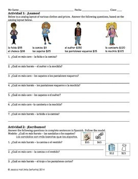 Spanish Clothing with Comparisons Writing Activity