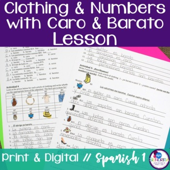 Spanish Clothing with Numbers, Caro, and Barato Lesson