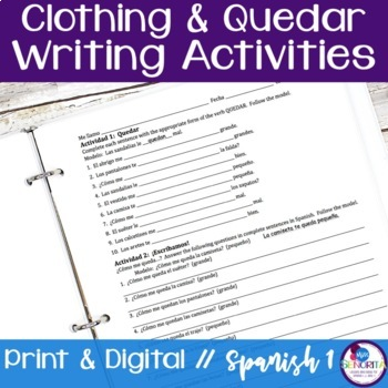 Spanish Clothing with Quedar Writing Activities