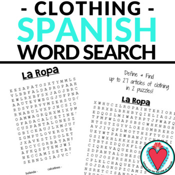Spanish Clothing WORD SEARCH
