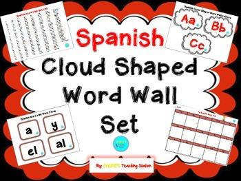 Spanish Cloud Shaped Word Wall