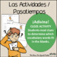 Spanish Cloze Printable, Differentiated, Vocabulary: Actividades / Verbos