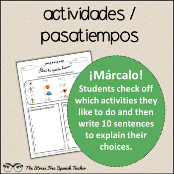 Spanish Cloze Printable, Differentiated, Vocabulary: Activities / Pastimes