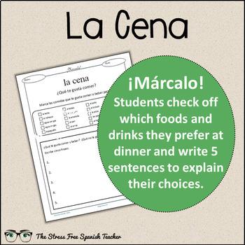 Spanish Cloze Printable, Differentiated, Vocabulary: Food / Comida / La Cena