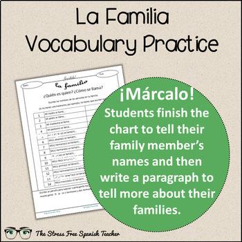 Spanish Cloze Printable, Differentiated, Vocabulary: La Familia / Family