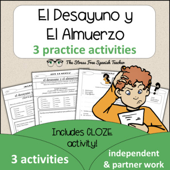Spanish Cloze Printable, Differentiated, Vocabulary: Lunch / Breakfast / Food
